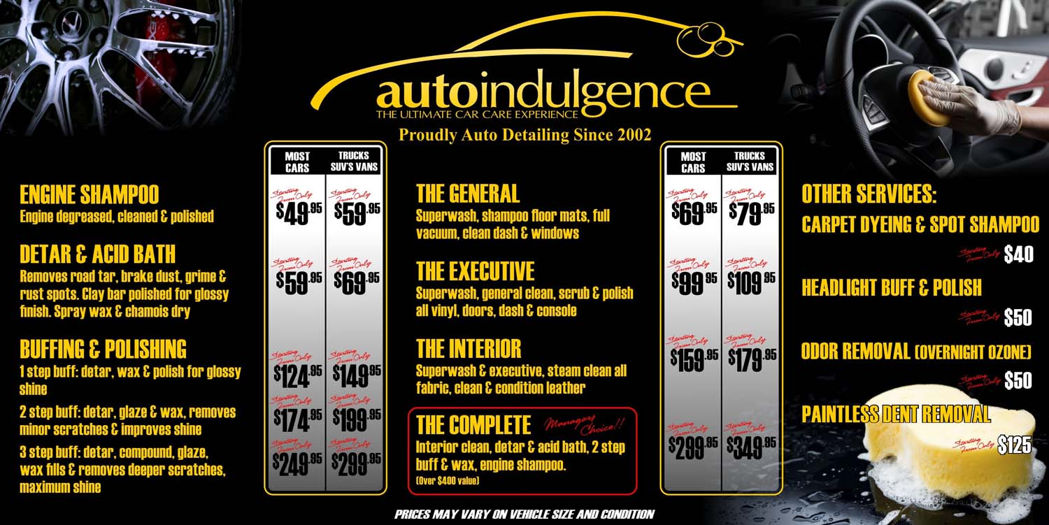 Prices From Auto Indulgence Car Wash Detailing In Moncton